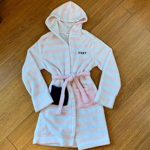 DKNY // Teen Bathrobe pink-white-navy blue